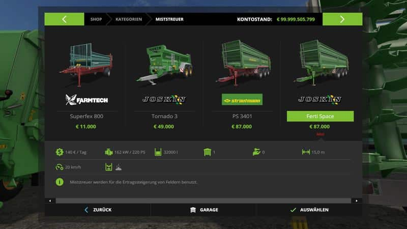 Joskin ferti space v1.1.0