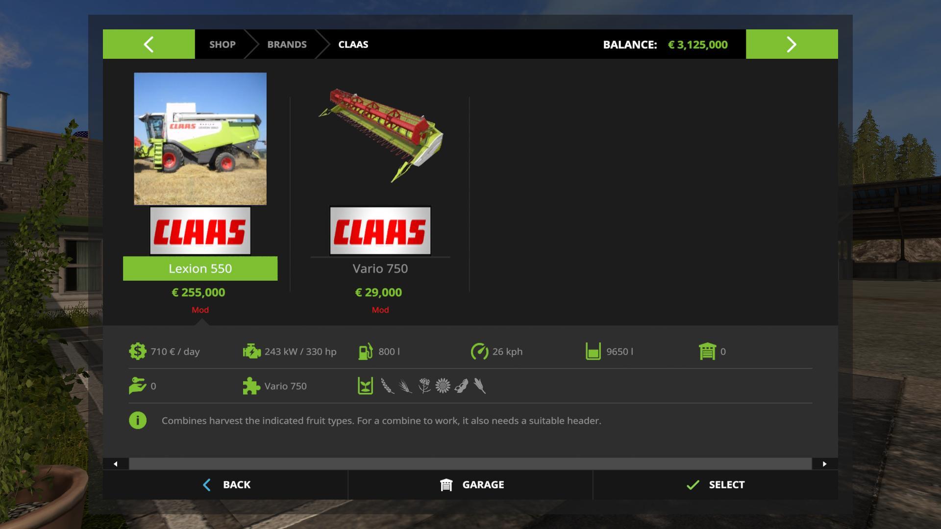 Claas Lexion 550 Pack v1.0